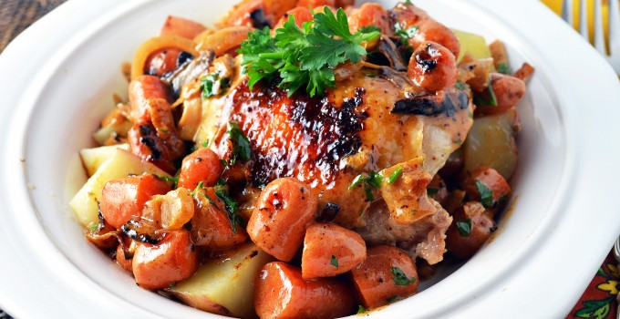 Chicken and Potatoes in Creamy White Wine Sauce