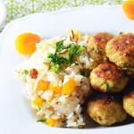 Curry Chicken Meatballs with Apricot Rice Pilaf
