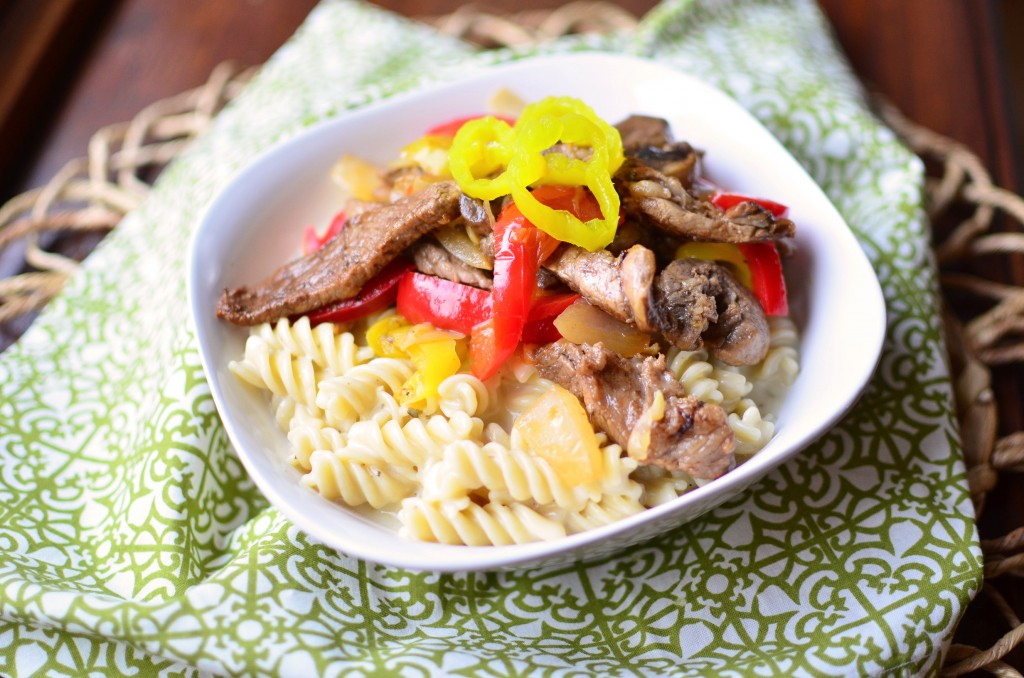 Philly Cheesesteak Pasta side