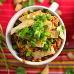 Chicken Enchilada Chili with Homemade Tortilla Strips