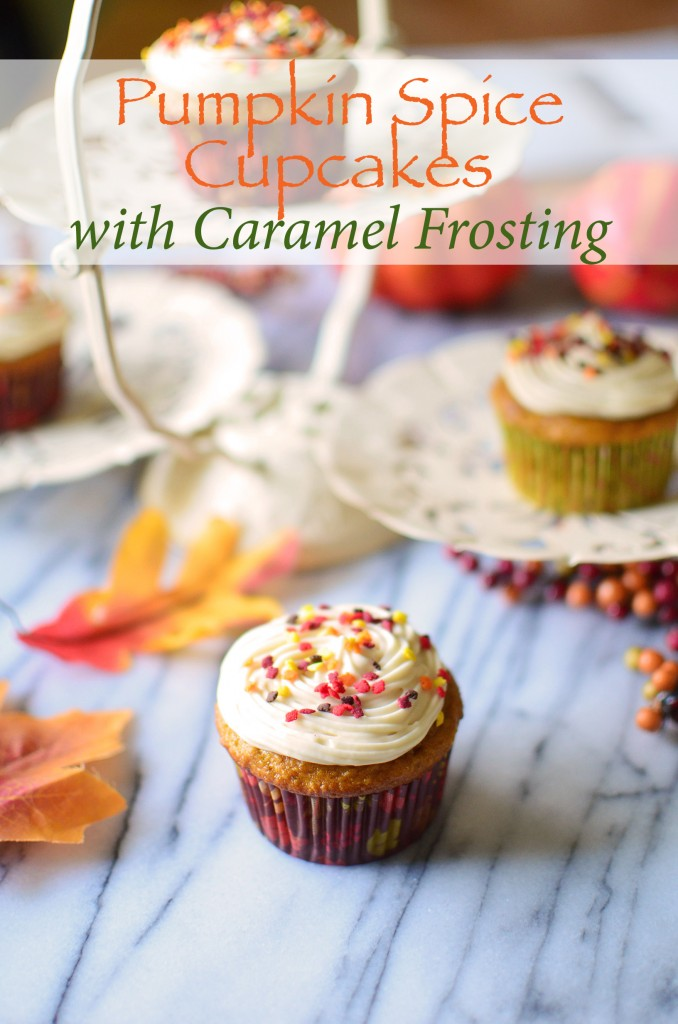Pumpkin Spice Cupcakes with Caramel Frosting tall text