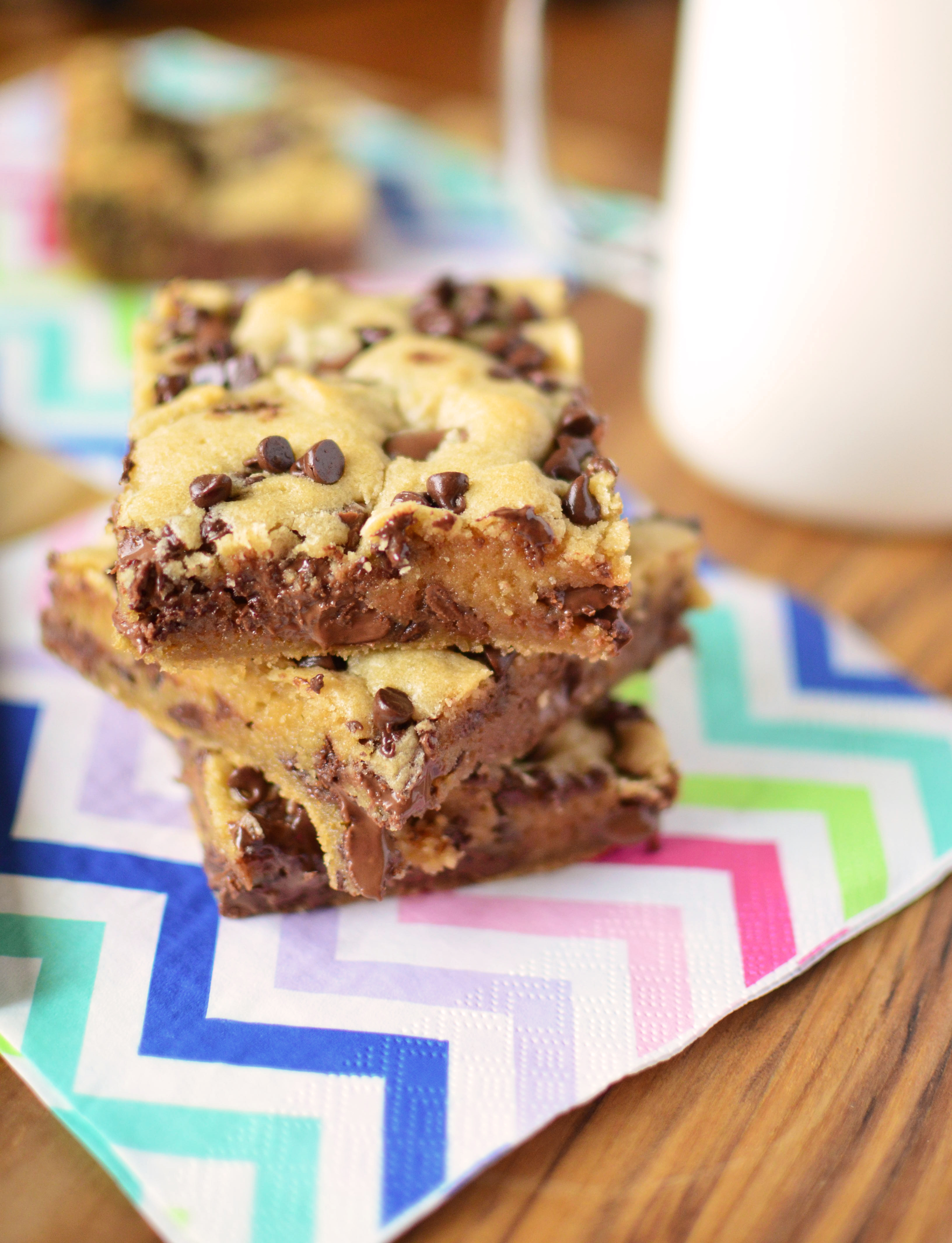 Double Chocolate Peanut Butter Cookie Bars stack all
