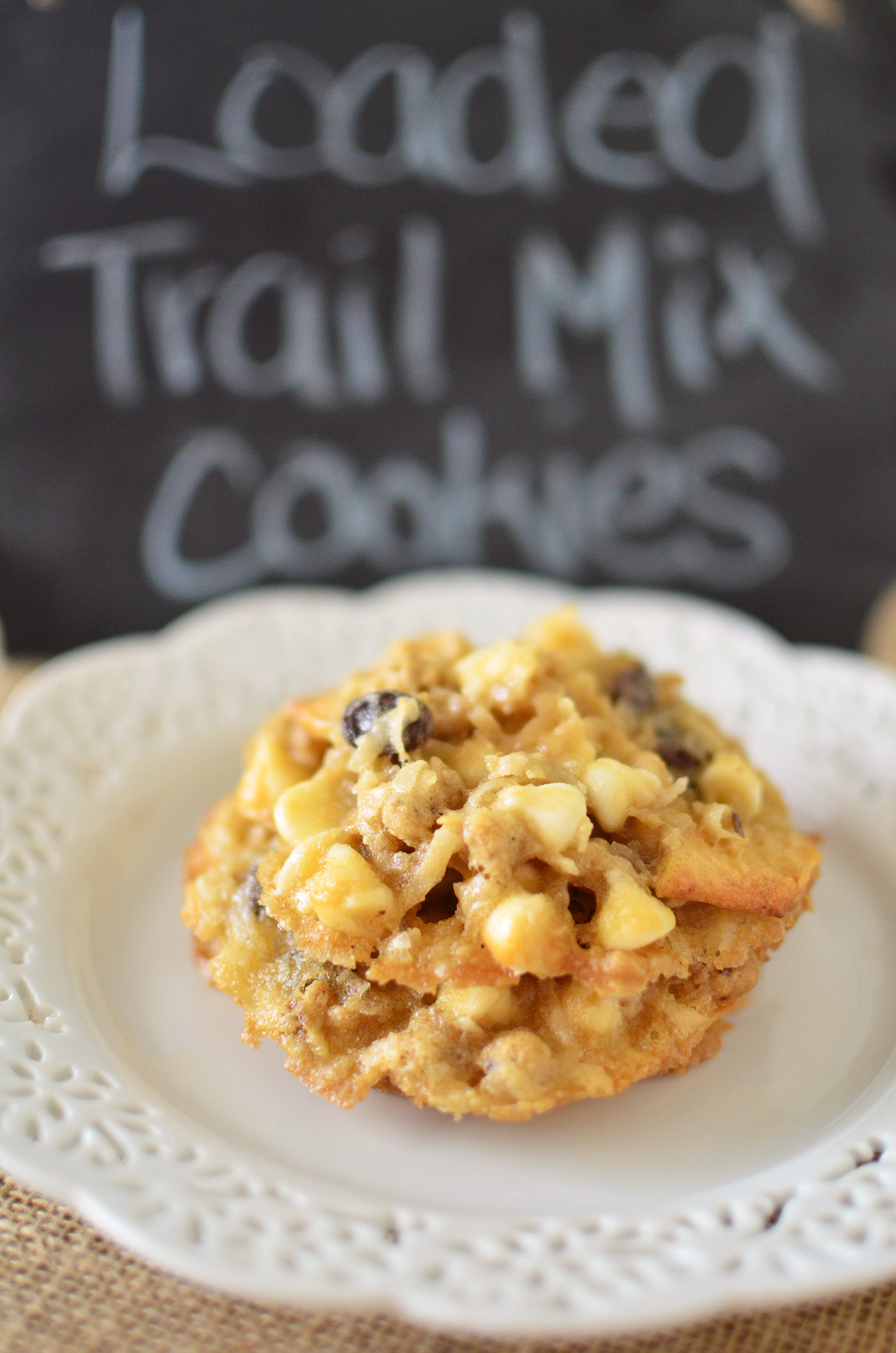 Loaded Trail Mix Cookies tall