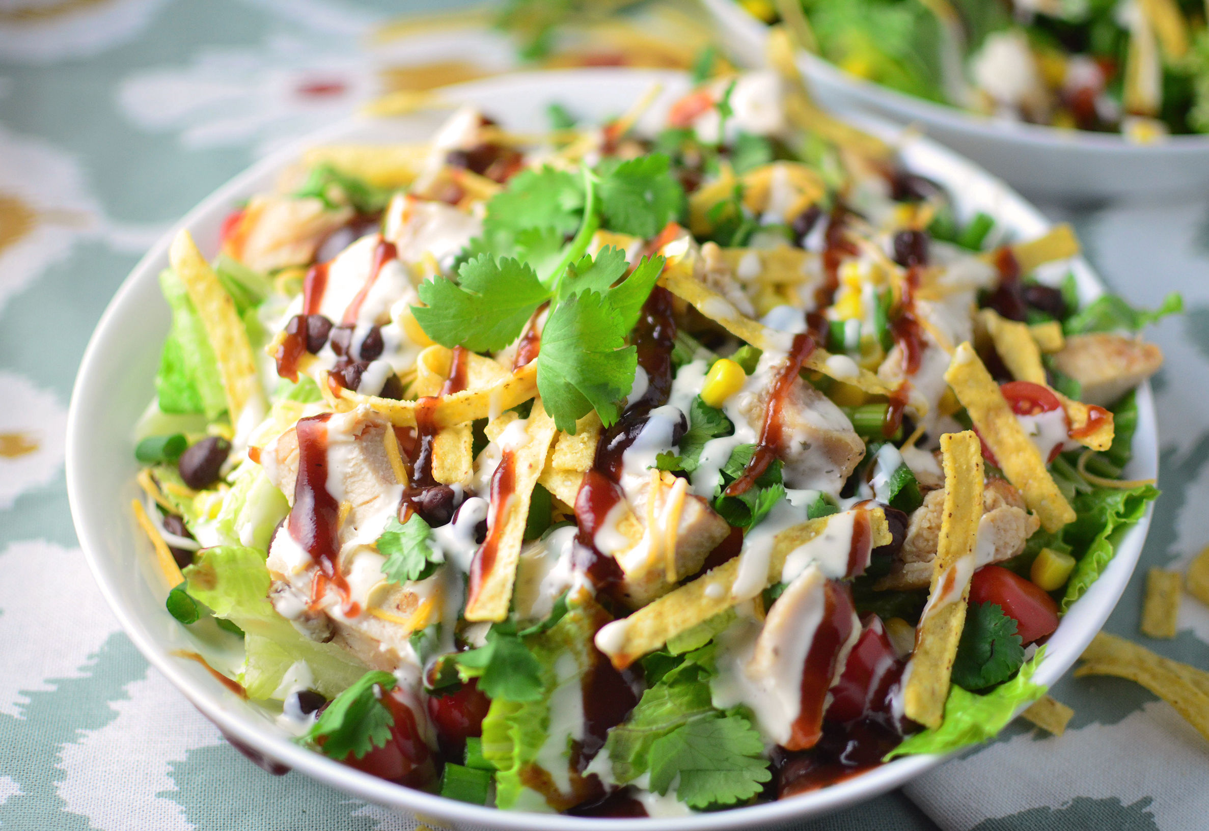Bbq chicken salad simple sweet savory for Easy salad ideas for bbq