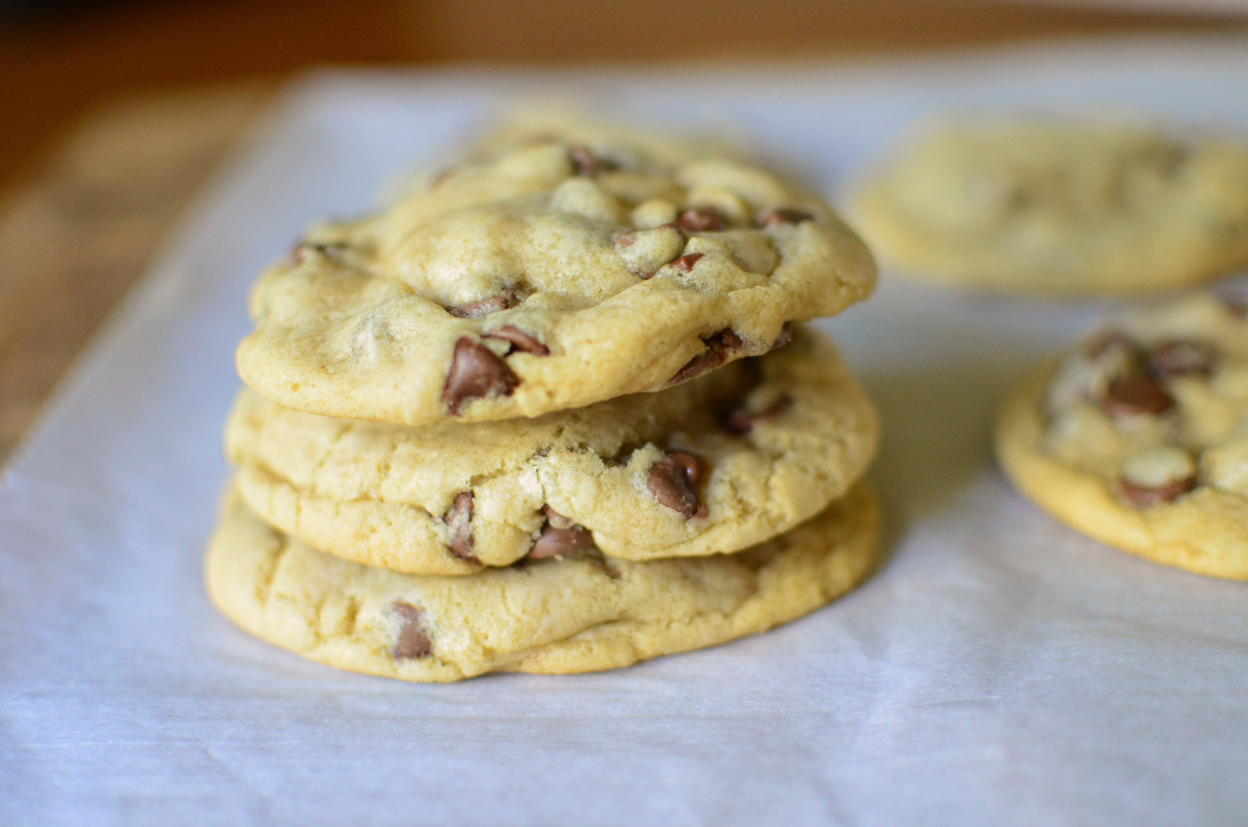 Big and Chewy Chocolate Chip Cookies stack