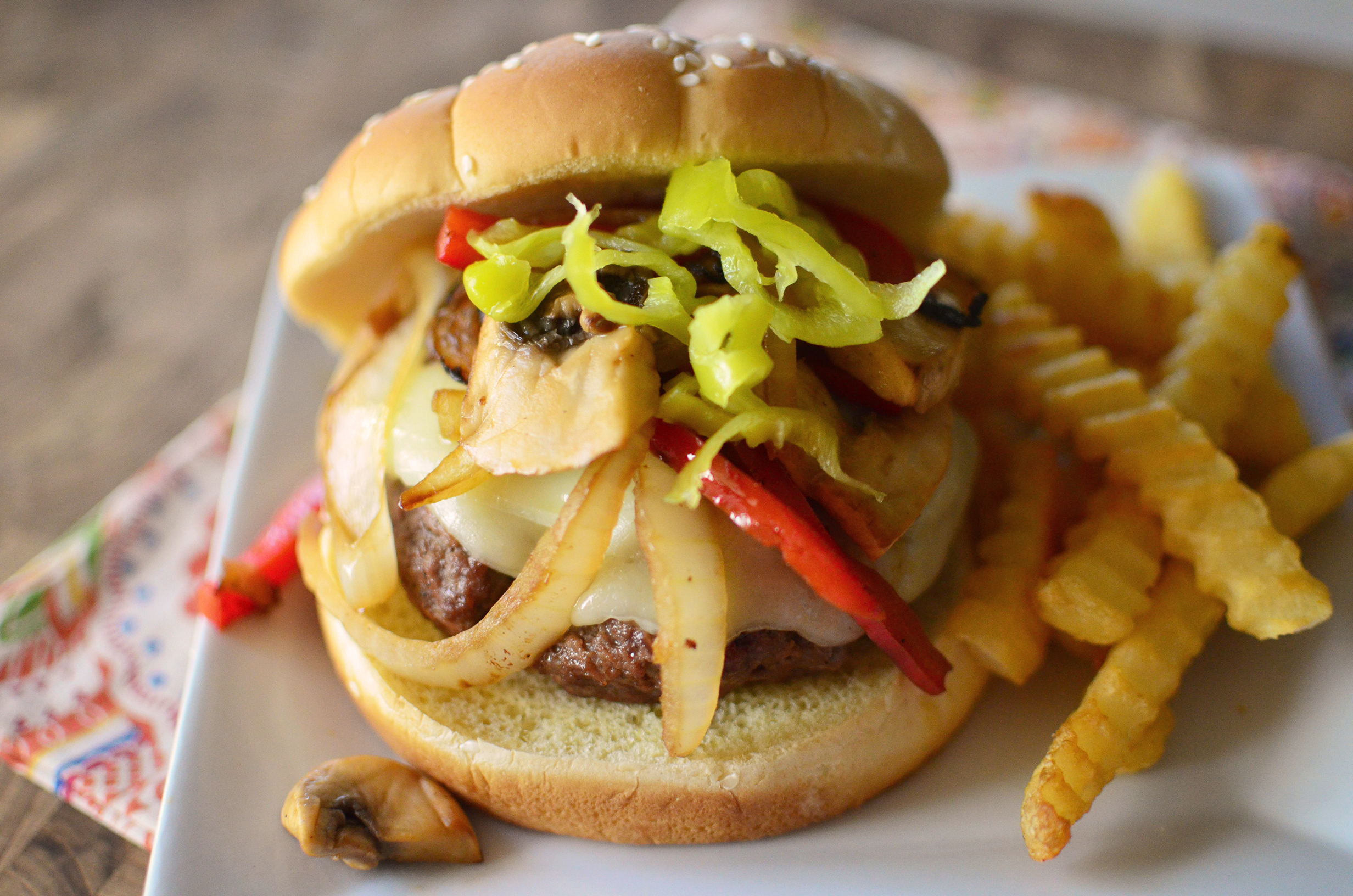 Philly Cheesesteak Burgers front