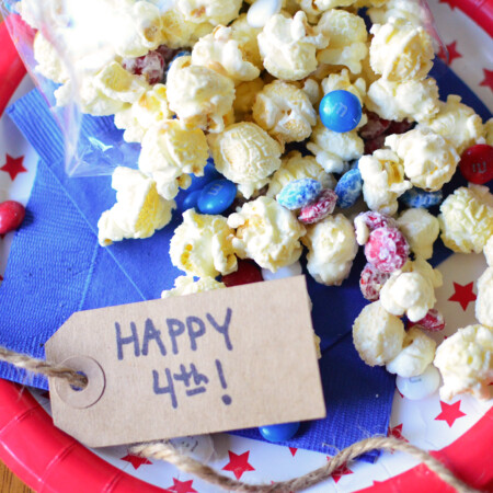 Patriotic White Chocolate Popcorn aerial full