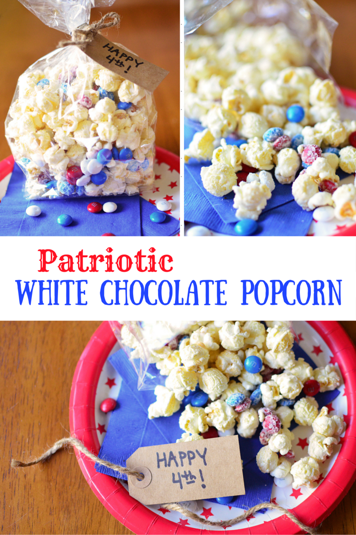 Patriotic White Chocolate Popcorn - Simple, Sweet & Savory