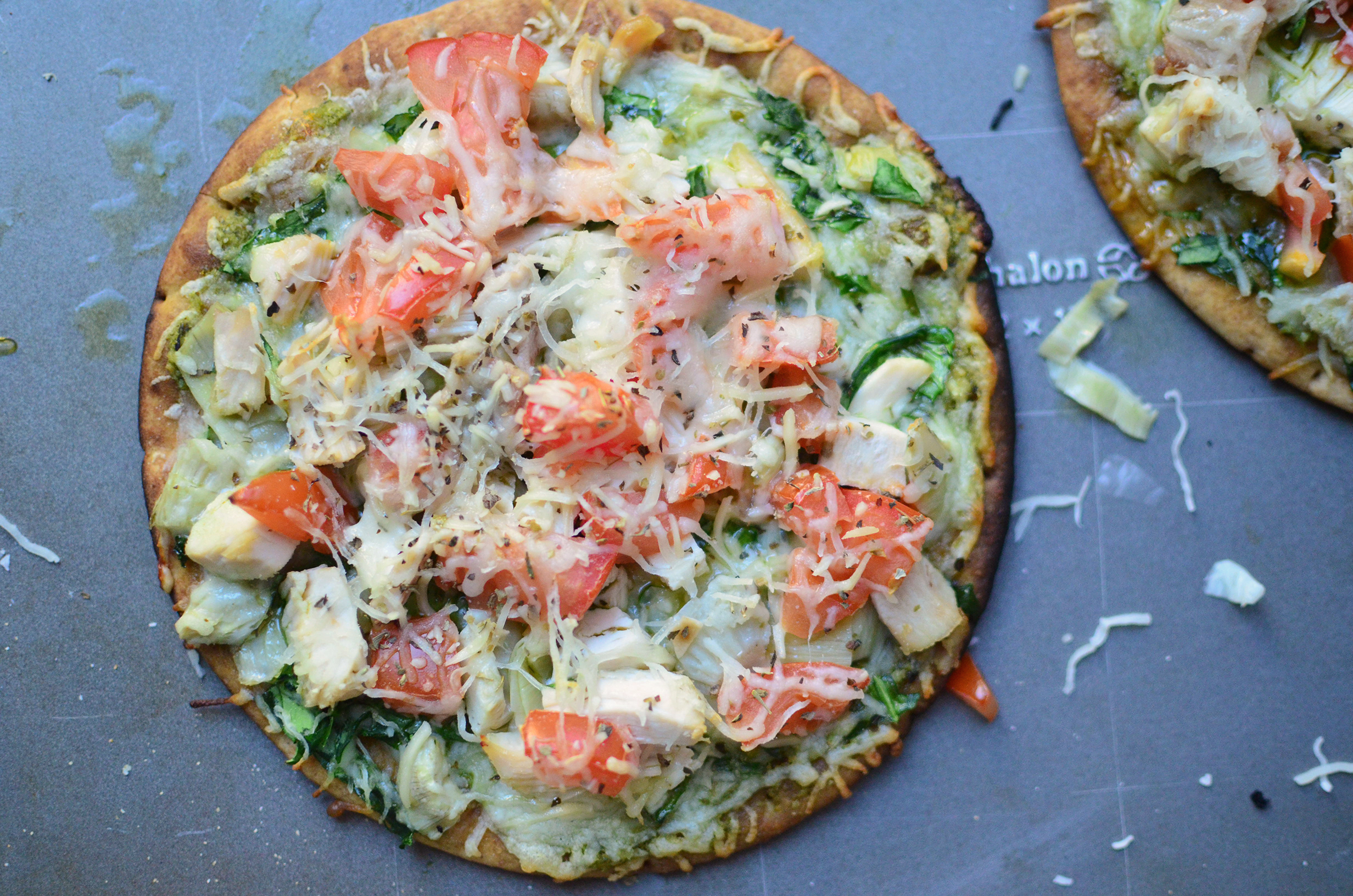 Grilled Spinach and Artichoke Flatbread aerial 2