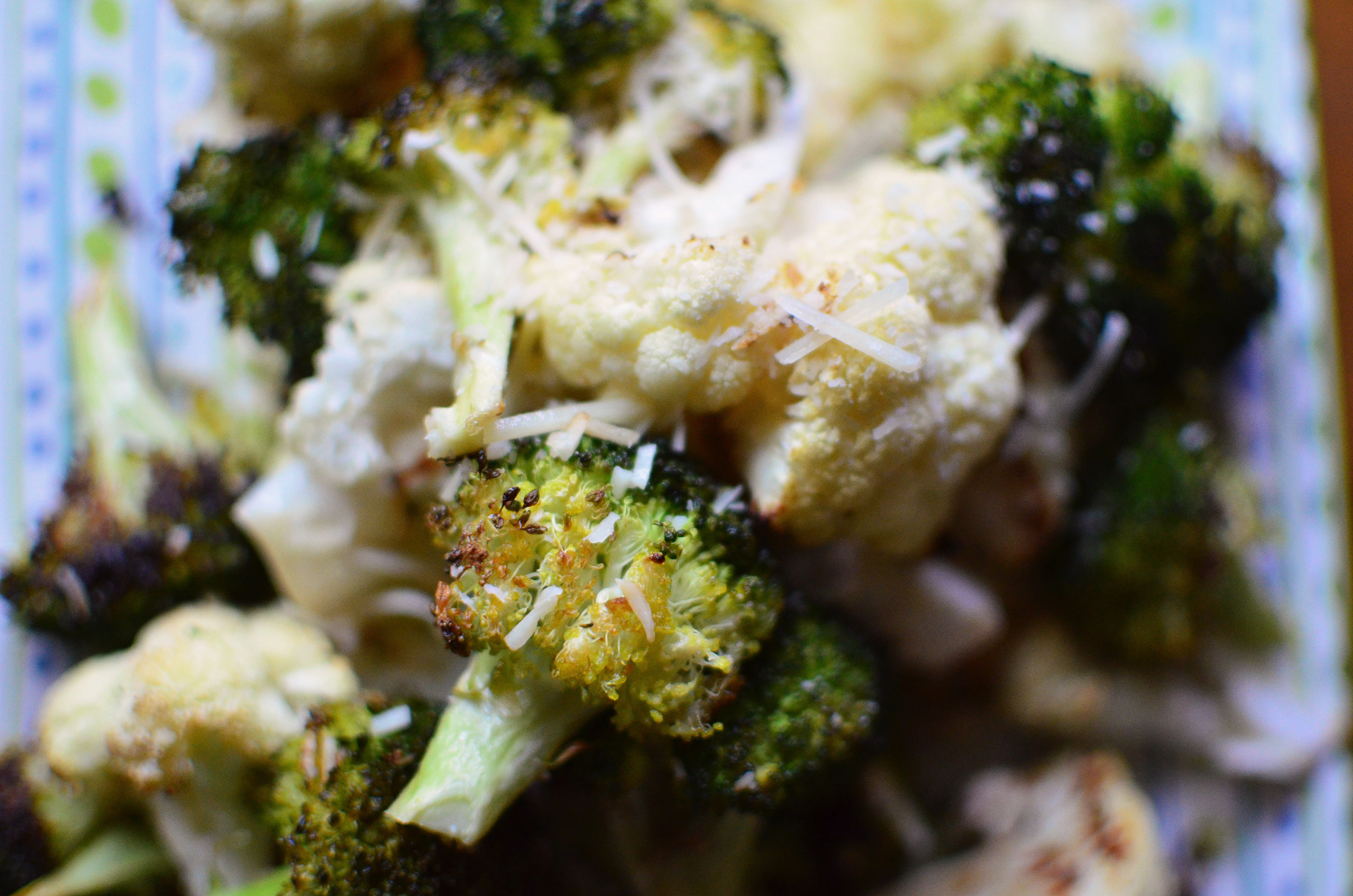 Parmesan Roasted Broccoli and Cauliflower aerial close