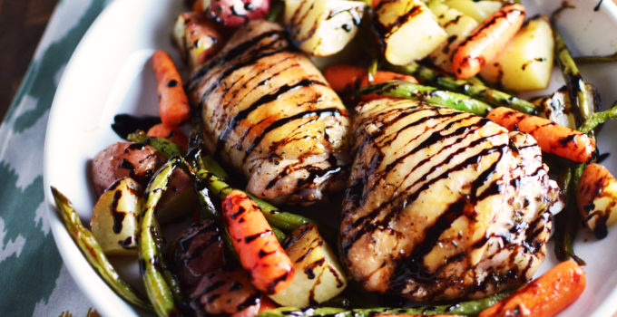 Roasted Chicken and Vegetables with Balsamic Glaze