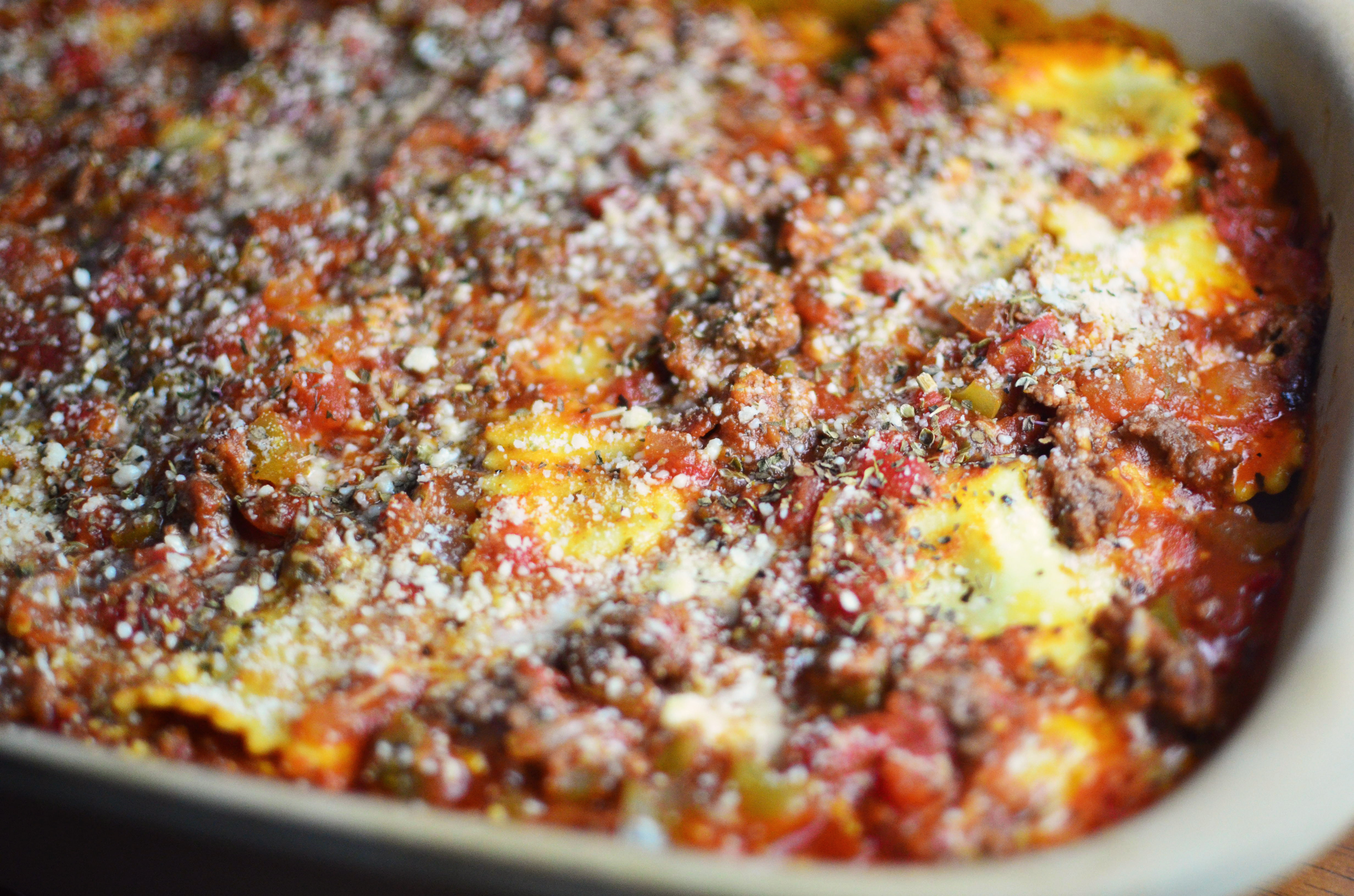 Baked Ravioli with Meat Sauce - Simple, Sweet & Savory