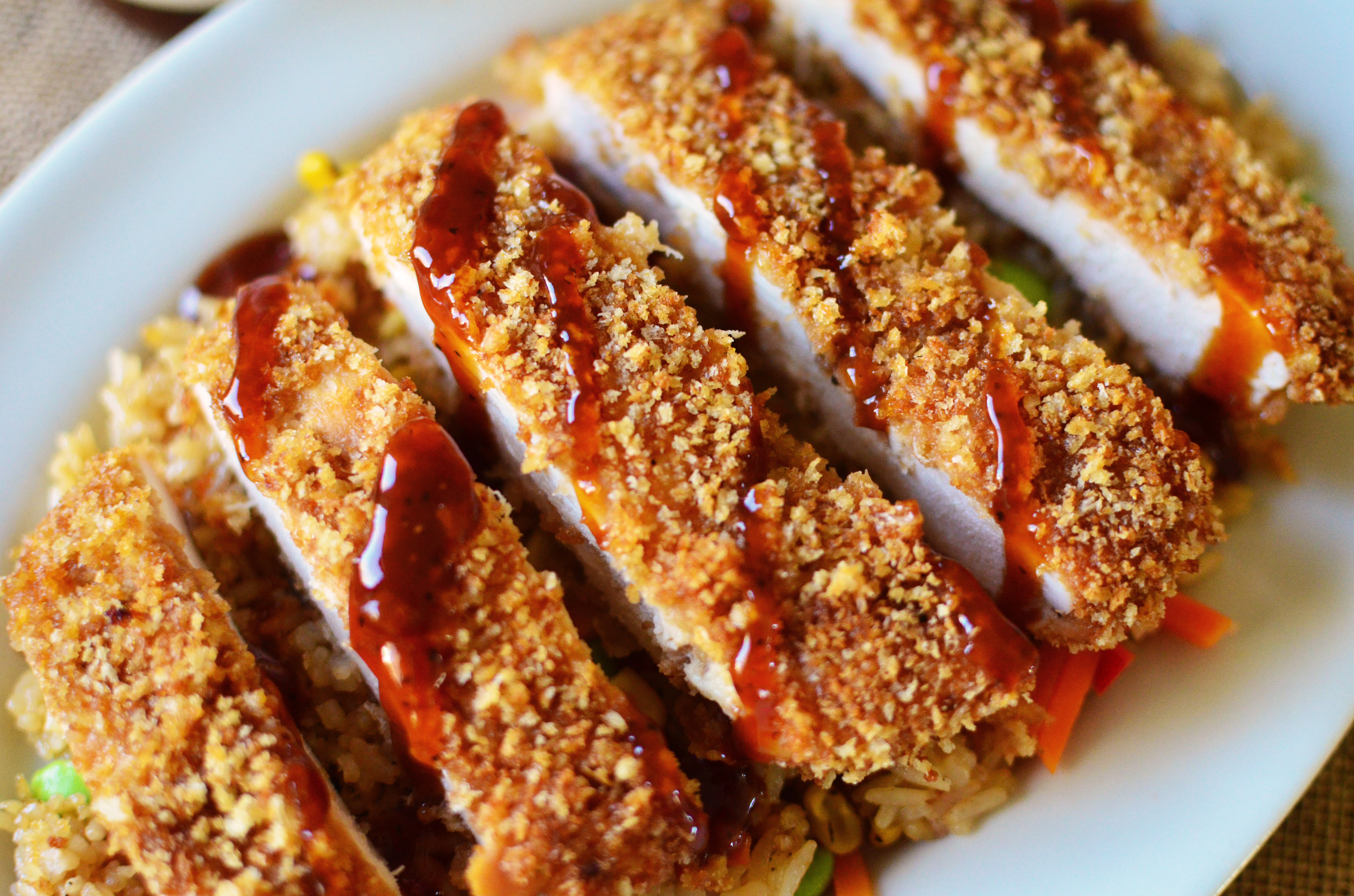baked chicken katsu with mongolian bbq sauce simple sweet savory. Black Bedroom Furniture Sets. Home Design Ideas